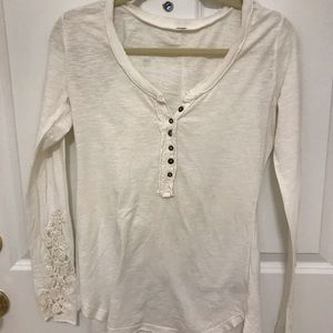 Women's Free People white sleeve blouse
